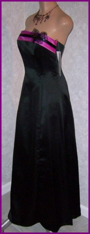 BLACK Magenta Band Butterfly Ball Formal Gown Prom Dress 5 NEW